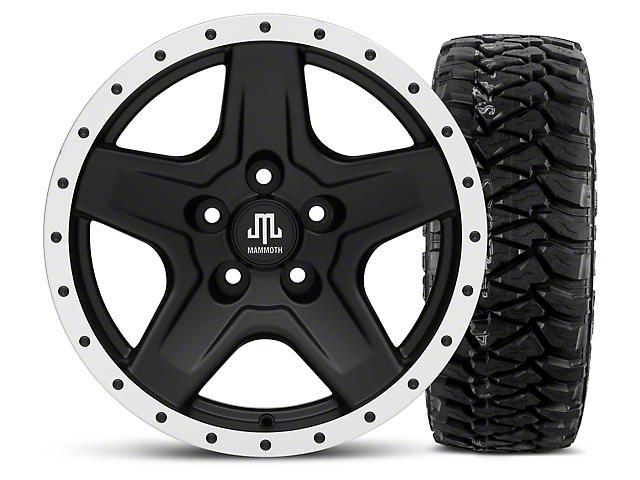 Mammoth Boulder Beadlock Style Black 16x8 Wheel & Mickey Thompson Baja MTZP3 305/70R16 Tire Kit (87-06 Wrangler YJ & TJ)