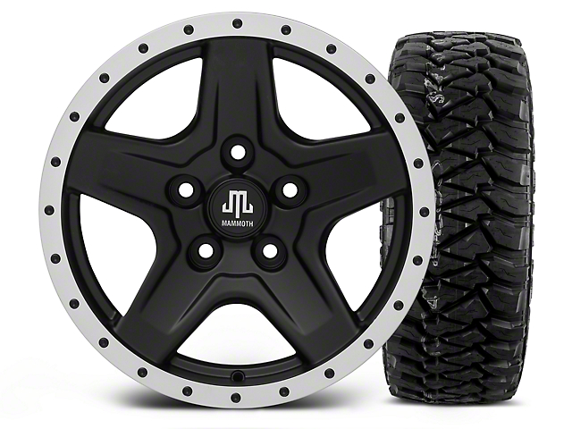 Mammoth Boulder Beadlock Style Black - 16x8 Wheel - and Mickey Thompson Baja MTZP3 Tire - 305/70R16 (07-18 Wrangler JK; 2018 Wrangler JL)