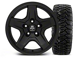 Mammoth Boulder Black 16x8 Wheel and Mickey Thompson Baja MTZP3 305/70R16 Tire Kit (87-06 Jeep Wrangler YJ & TJ)