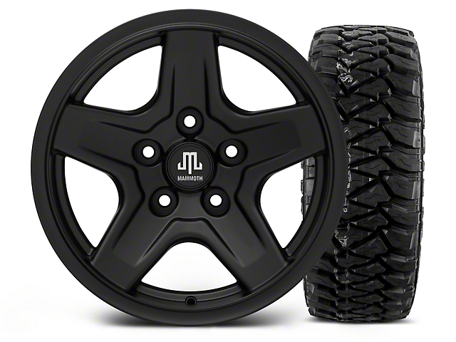 Mammoth Boulder Black - 16x8 Wheel - and Mickey Thompson Baja MTZP3 Tire - 305/70R16 (07-18 Jeep Wrangler JK)