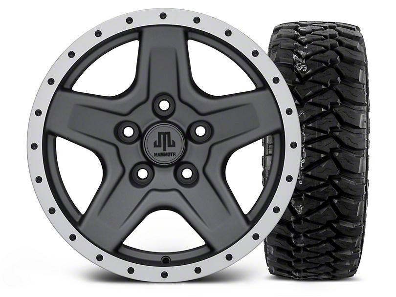 Mammoth Boulder Beadlock Style Charcoal - 16x8 Wheel - and Mickey Thompson Baja MTZP3 Tire - 305/70R16 (07-18 Jeep Wrangler JK)