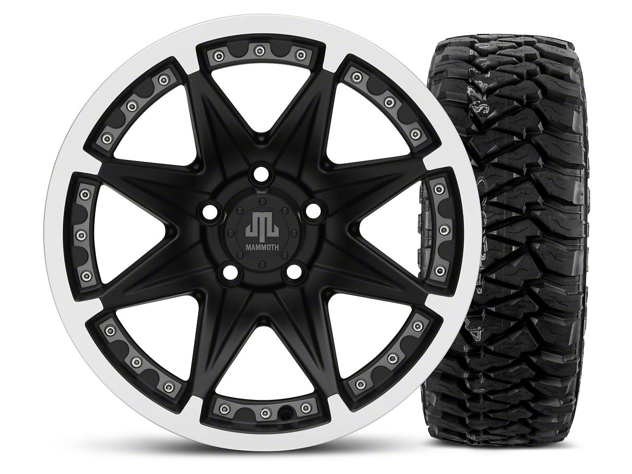 Mammoth Type 88 Black 16x8 Wheel & Mickey Thompson Baja MTZP3 305/70R16 Tire Kit (87-06 Jeep Wrangler YJ & TJ)