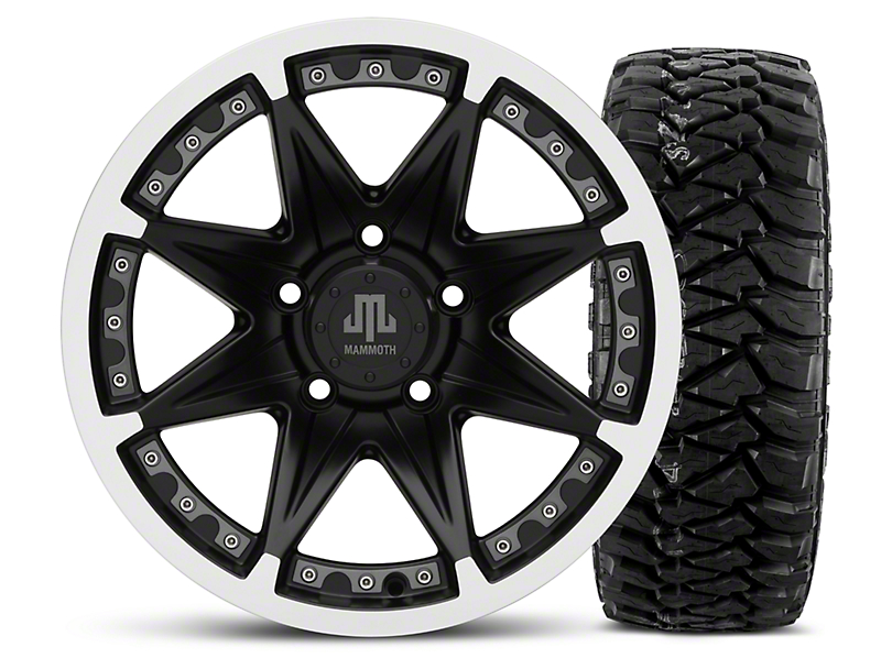 Mammoth Type 88 Black - 16x8 Wheel - and Mickey Thompson Baja MTZP3 Tire - 305/70R16 (07-18 Wrangler JK)