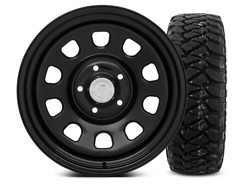 Mammoth D Window Black Steel - 17x9 Wheel - and Mickey Thompson Baja MTZP3 Tire - 285/70R17 (07-18 Wrangler JK)