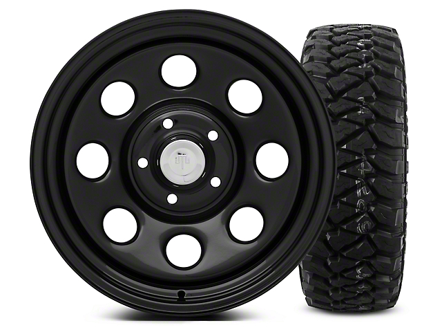 Mammoth 8 Black Steel - 17x9 Wheel - and Mickey Thompson Baja MTZP3 Tire - 285/70R17 (07-18 Wrangler JK; 2018 Wrangler JL)