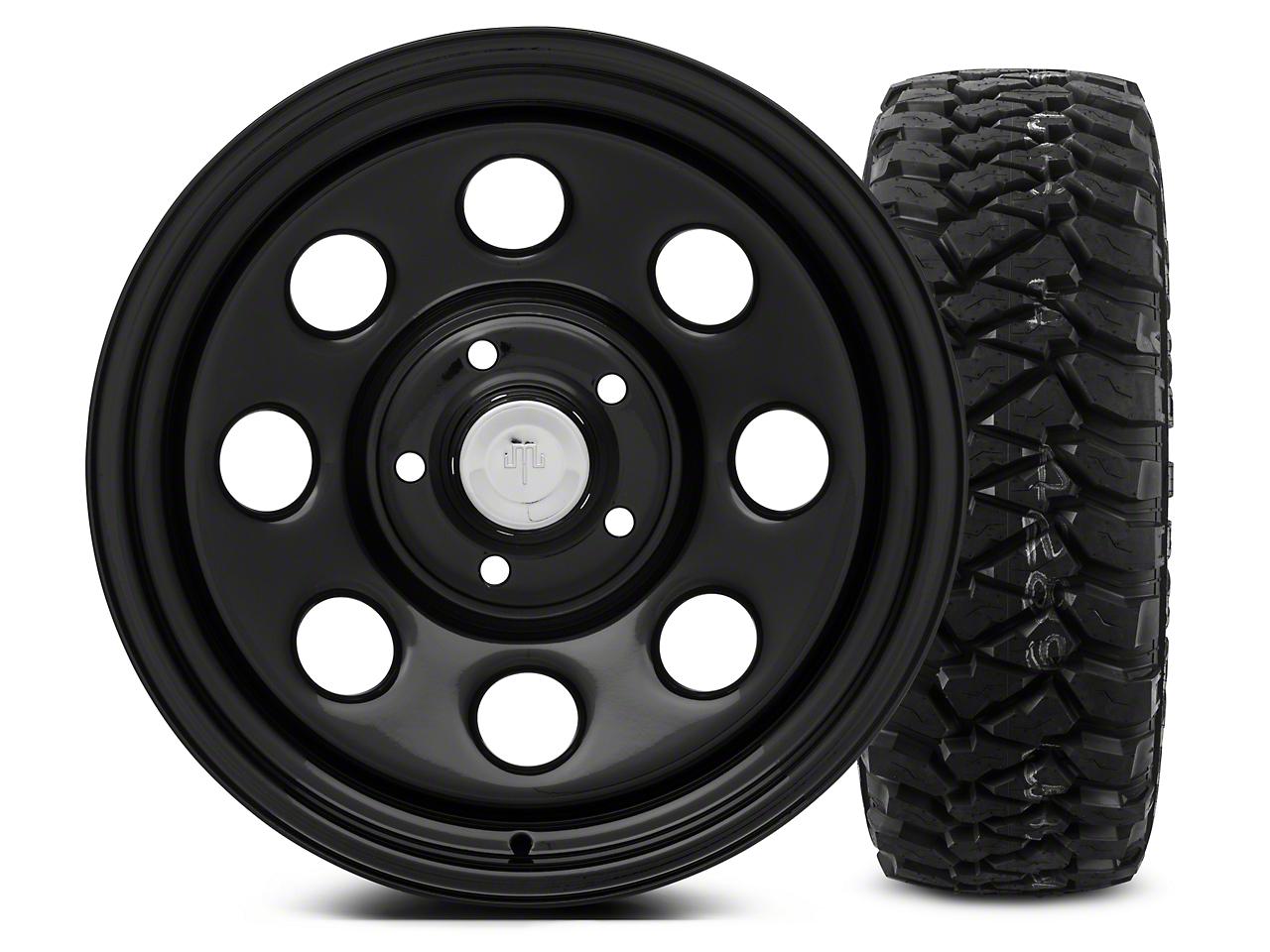 Mammoth 8 Black Steel - 17x9 Wheel - and Mickey Thompson Baja MTZP3 Tire - 285/70R17 (07-18 Jeep Wrangler JK; 2018 Jeep Wrangler JL)