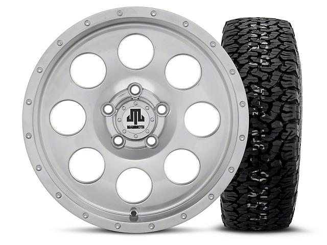 Mammoth 8 Beadlock Style Polished 15x8 Wheel & BF Goodrich All Terrain TA KO2 35x12.50R15 Tire Kit (87-06 Jeep Wrangler YJ & TJ)