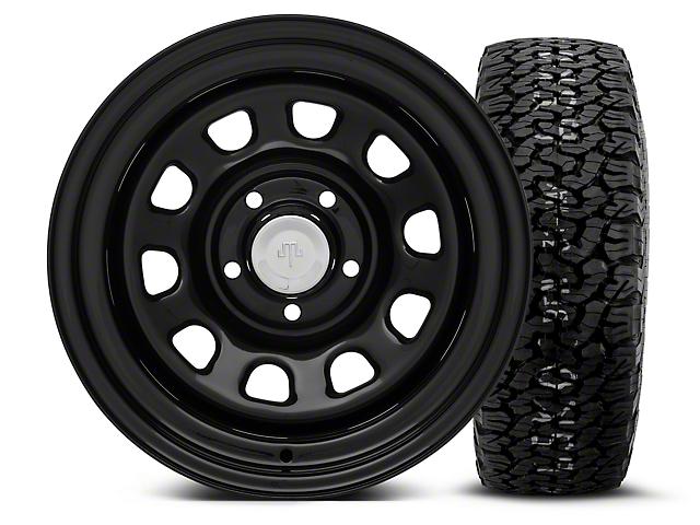 Mammoth D Window Black Steel 15x10 Wheel and BF Goodrich All Terrain TA KO2 35x12.50R15 Tire Kit (87-06 Jeep Wrangler YJ & TJ)