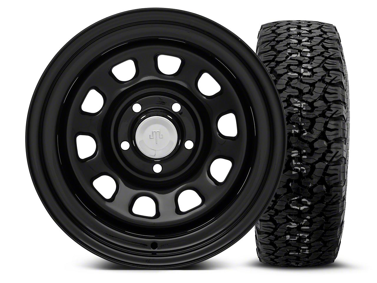 Mammoth D Window Black Steel 15x10 Wheel & BF Goodrich All Terrain TA KO2 35x12.5R15 Tire Kit (87-06 Jeep Wrangler YJ & TJ)