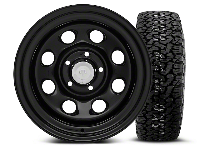 Mammoth 8 Black Steel 15x10 Wheel and BF Goodrich All Terrain TA KO2 35x12.50R15 Tire Kit (87-06 Jeep Wrangler YJ & TJ)
