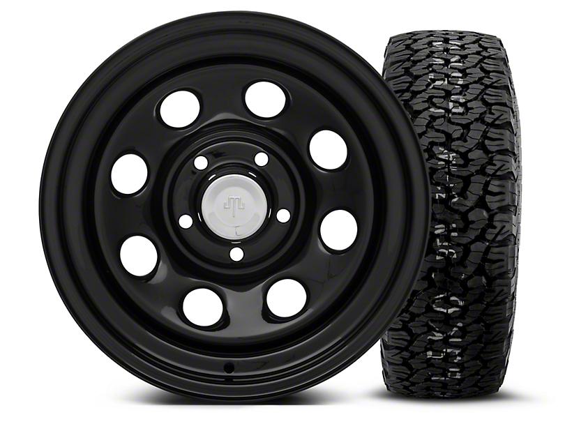 Mammoth 8 Black Steel 15x8 Wheel and BF Goodrich All Terrain TA KO2 35x12.50R15 Tire Kit (87-06 Jeep Wrangler YJ & TJ)