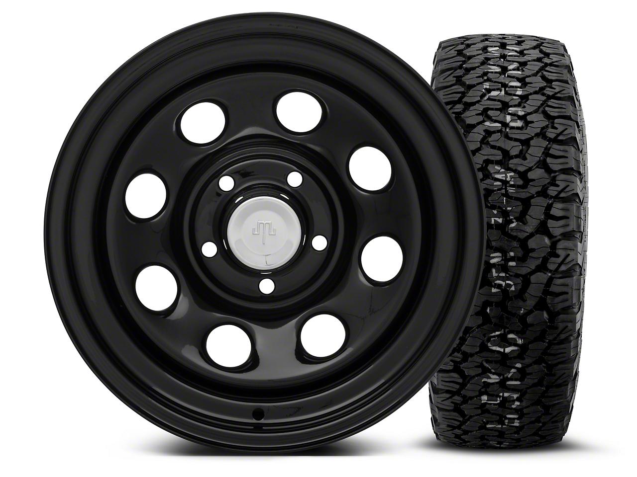 Mammoth 8 Black Steel 15x8 Wheel & BF Goodrich All Terrain TA KO2 35x12.5R15 Tire Kit (87-06 Jeep Wrangler YJ & TJ)