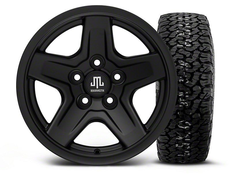 Mammoth Boulder Black - 15x8 Wheel - and BF Goodrich All Terrain TA KO2 Tire - 35x12.5R15 (87-06 Wrangler YJ & TJ)