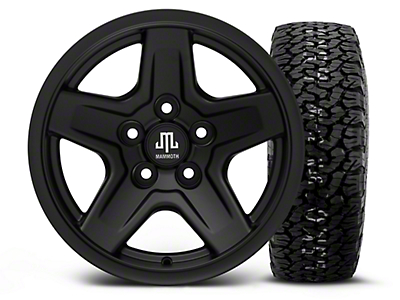 Mammoth Boulder Black 15x8 Wheel & BF Goodrich All Terrain TA KO2 35x12.5R15 Tire Kit (87-06 Jeep Wrangler YJ & TJ)