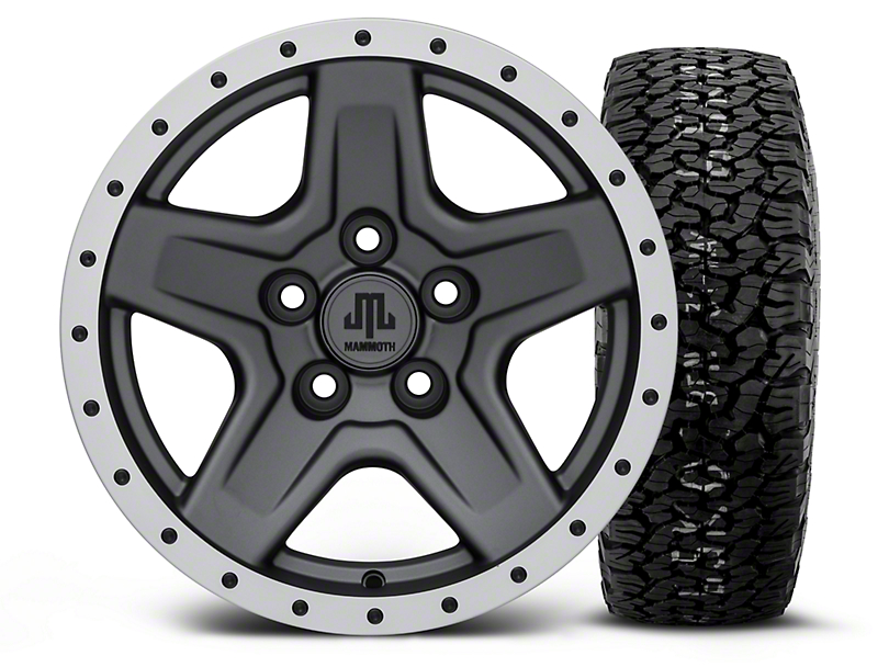 Mammoth Boulder Beadlock Style Charcoal 15x8 Wheel & BF Goodrich All Terrain TA KO2 35x12.5R15 Tire Kit (87-06 Wrangler YJ & TJ)