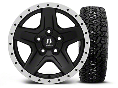 Mammoth Boulder Beadlock Style Black 15x8 Wheel & BF Goodrich All Terrain TA KO2 35x12.5R15 Tire Kit (87-06 Jeep Wrangler YJ & TJ)