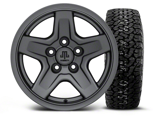 Mammoth Boulder Charcoal 15x8 Wheel & BF Goodrich All Terrain TA KO2 35x12.5R15 Tire Kit (87-06 Jeep Wrangler YJ & TJ)