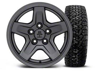 Mammoth Boulder Charcoal 15x8 Wheel & BF Goodrich All Terrain TA KO2 35x12.5R15 Tire Kit (87-06 Jeep Wrangler YJ & TJ)
