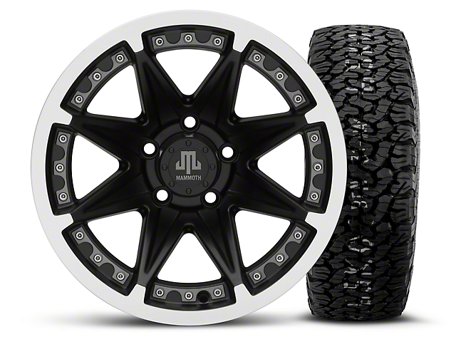 Mammoth Type 88 Black 15x8 Wheel & BF Goodrich All Terrain TA KO2 35x12.5R15 Tire Kit (87-06 Wrangler YJ & TJ)