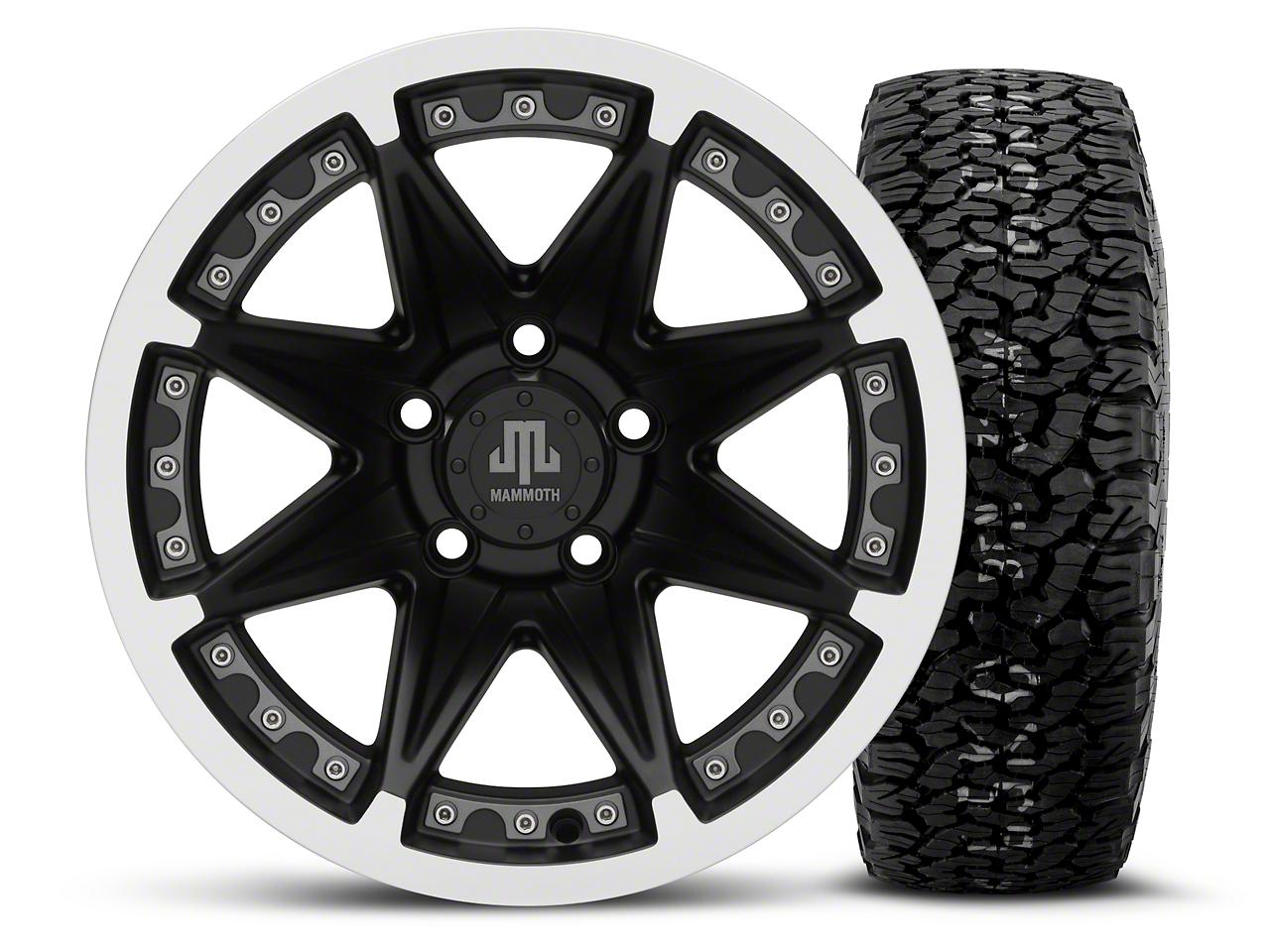 Mammoth Type 88 Black 15x8 Wheel & BF Goodrich All Terrain TA KO2 35x12.5R15 Tire Kit (87-06 Jeep Wrangler YJ & TJ)