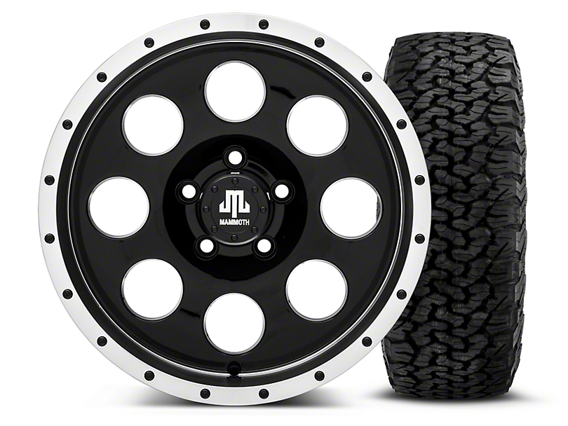 Mammoth 8 Beadlock Style Black 16x8 Wheel and BF Goodrich All Terrain TA KO2 305/70R16 Tire Kit (87-06 Jeep Wrangler YJ & TJ)