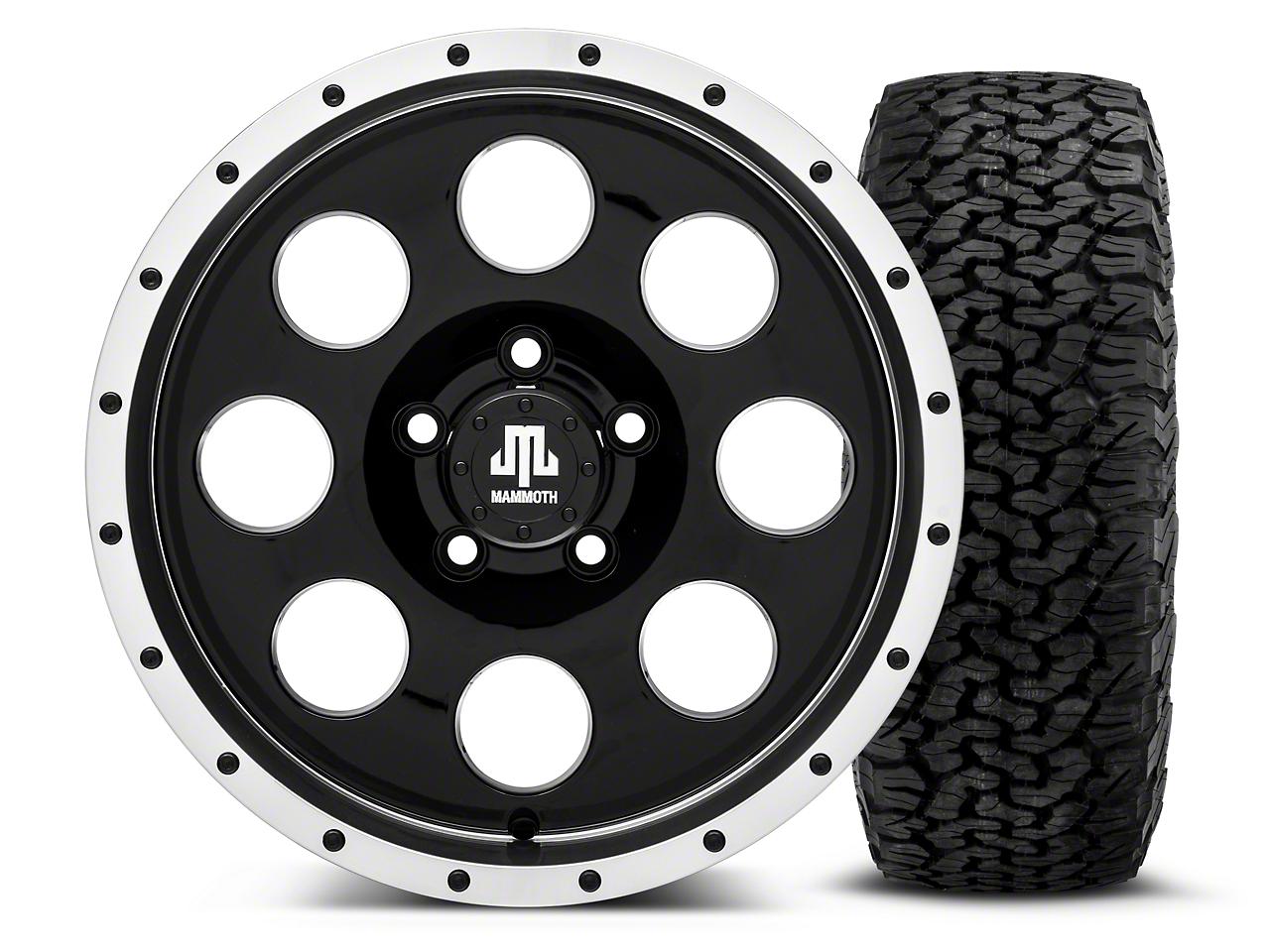 Mammoth 8 Beadlock Style Black 16x8 Wheel & BF Goodrich All Terrain TA KO2 305/70R16 Tire Kit (87-06 Jeep Wrangler YJ & TJ)