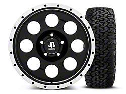 Mammoth 8 Beadlock Style Black 16x8 Wheel and BF Goodrich All Terrain TA KO2 305/70R16 Tire Kit (87-06 Jeep Wrangler YJ & TJ)