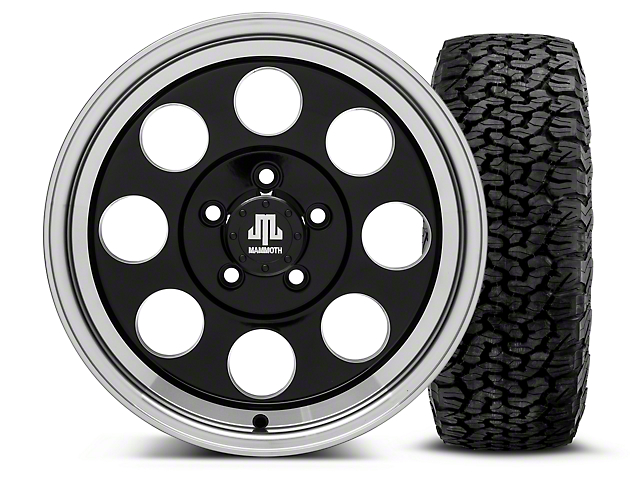 Mammoth 8 Black - 16x8 Wheel - and BF Goodrich All Terrain TA KO2 Tire - 305/70R16 (87-06 Wrangler YJ & TJ)