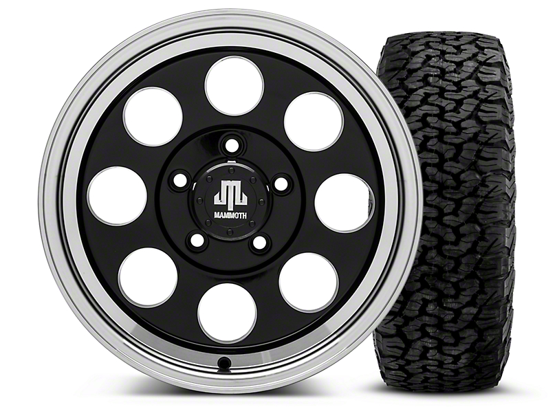 Mammoth 8 Black - 16x8 Wheel - and BF Goodrich All Terrain TA KO2 Tire - 305/70R16 (07-18 Jeep Wrangler JK; 2018 Jeep Wrangler JL)