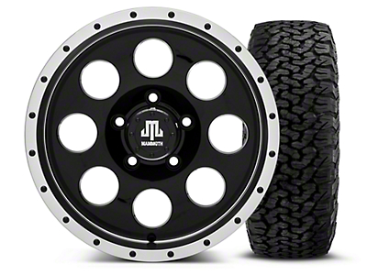 Mammoth 8 Beadlock Style Black - 16x8 Wheel - and BF Goodrich All Terrain TA KO2 Tire - 305/70R16 (07-18 Jeep Wrangler JK; 2018 Jeep Wrangler JL)