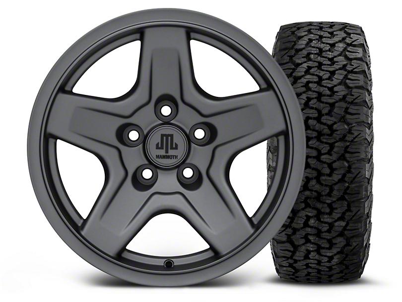 Mammoth Boulder Charcoal 16x8 Wheel & BF Goodrich All Terrain TA KO2 305/70R16 Tire Kit (87-06 Jeep Wrangler YJ & TJ)