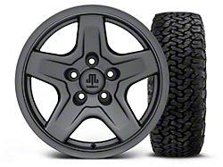 Mammoth Boulder Charcoal 16x8 Wheel and BF Goodrich All Terrain TA KO2 305/70R16 Tire Kit (87-06 Jeep Wrangler YJ & TJ)