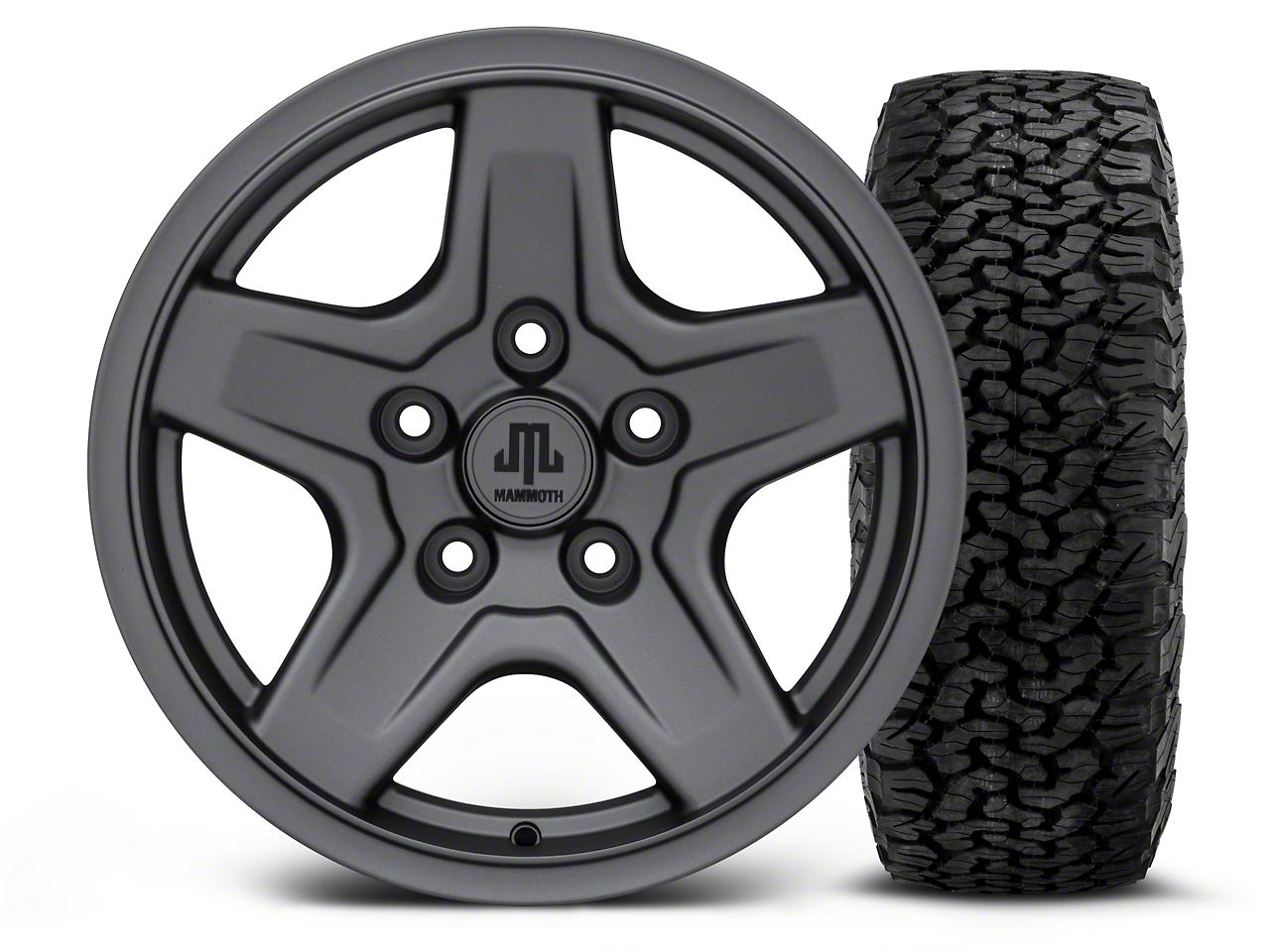 Mammoth Boulder Charcoal - 16x8 Wheel - and BF Goodrich All Terrain TA KO2 Tire - 305/70R16 (07-18 Jeep Wrangler JK; 2018 Jeep Wrangler JL)