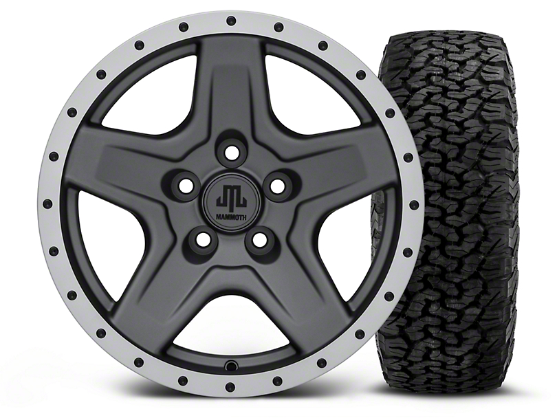 Mammoth Boulder Beadlock Style Charcoal 16x8 Wheel & BF Goodrich All Terrain TA KO2 305/70R16 Tire Kit (87-06 Jeep Wrangler YJ & TJ)