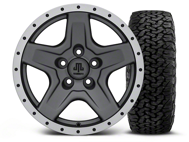 Mammoth Boulder Beadlock Style Charcoal - 16x8 Wheel - and BF Goodrich All Terrain TA KO2 Tire - 305/70R16 (87-06 Wrangler YJ & TJ)