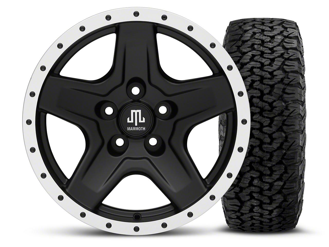 Mammoth Boulder Beadlock Style Black 16x8 Wheel & BF Goodrich All Terrain TA KO2 305/70R16 Tire Kit (87-06 Jeep Wrangler YJ & TJ)