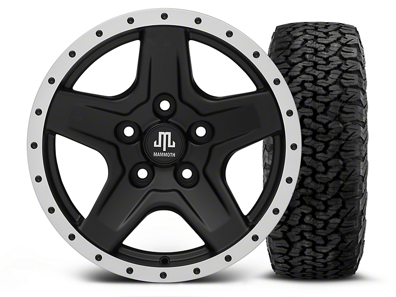 Mammoth Boulder Beadlock Style Black - 16x8 Wheel - and BF Goodrich All Terrain TA KO2 Tire - 305/70R16 (07-18 Wrangler JK; 2018 Wrangler JL)