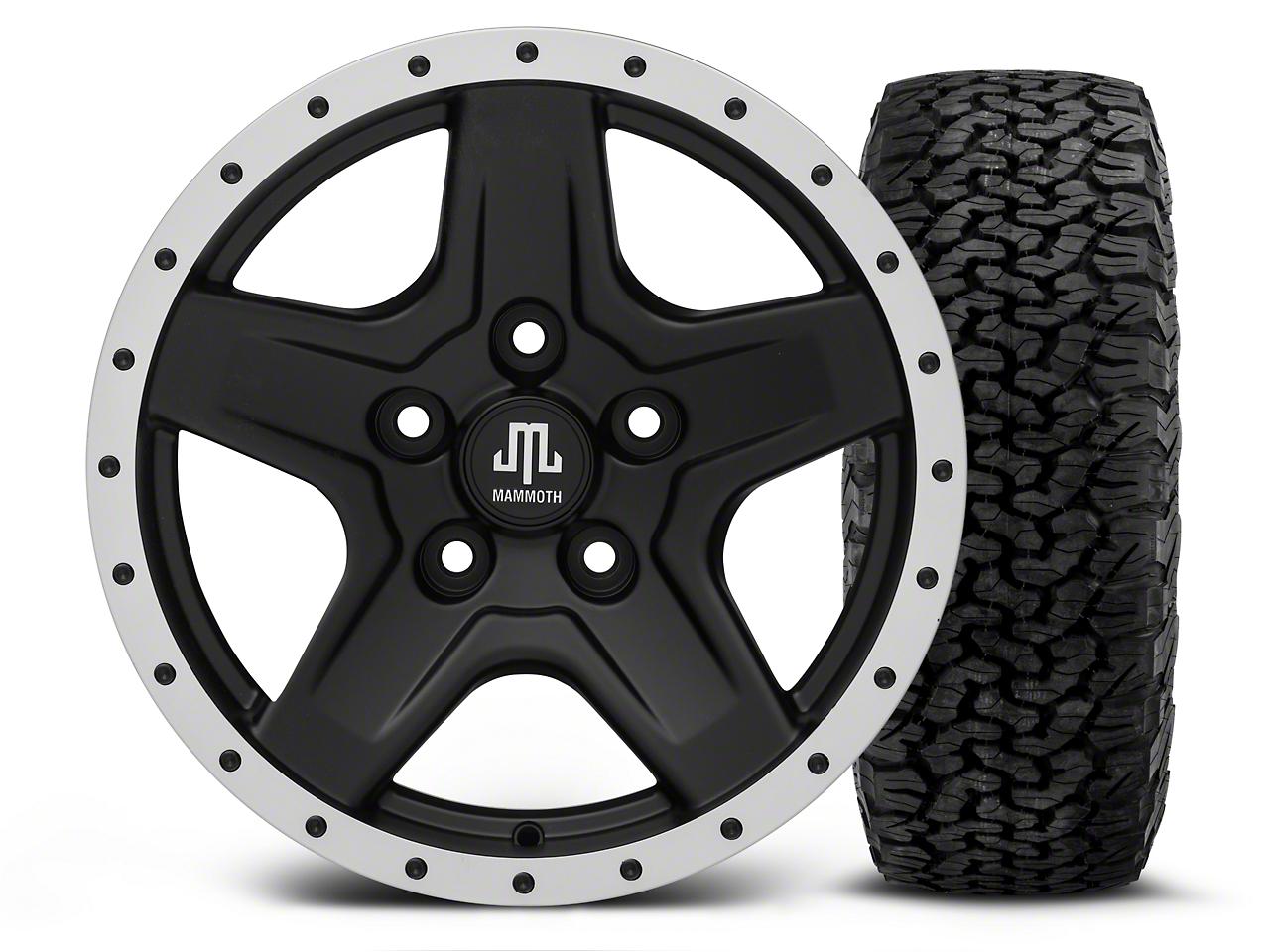 Mammoth Boulder Beadlock Style Black - 16x8 Wheel - and BF Goodrich All Terrain TA KO2 Tire - 305/70R16 (07-18 Jeep Wrangler JK; 2018 Jeep Wrangler JL)