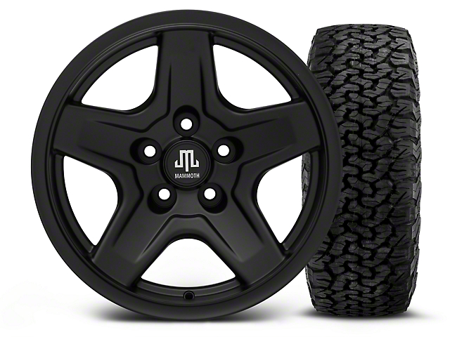 Mammoth Boulder Black - 16x8 Wheel - and BF Goodrich All Terrain TA KO2 Tire - 305/70R16 (87-06 Wrangler YJ & TJ)