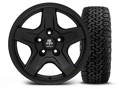 Mammoth Boulder Black 16x8 Wheel & BF Goodrich All Terrain TA KO2 305/70R16 Tire Kit (87-06 Jeep Wrangler YJ & TJ)