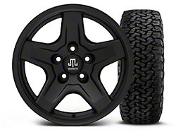 Mammoth Boulder Black 16x8 Wheel & BF Goodrich All Terrain TA KO2 305/70R16 Tire Kit (87-06 Jeep Wrangler YJ & TJ)