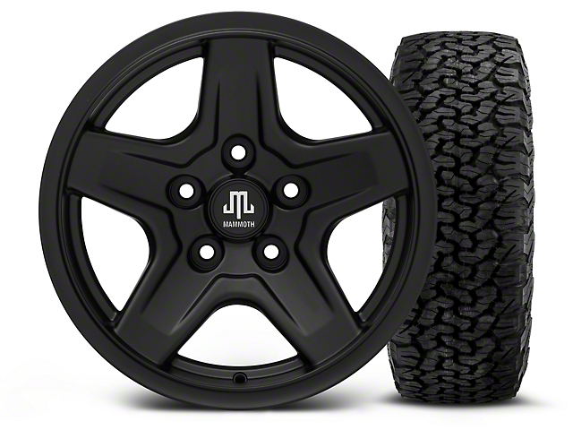 Mammoth Boulder Black - 16x8 Wheel - and BF Goodrich All Terrain TA KO2 Tire - 305/70R16 (07-18 Wrangler JK)