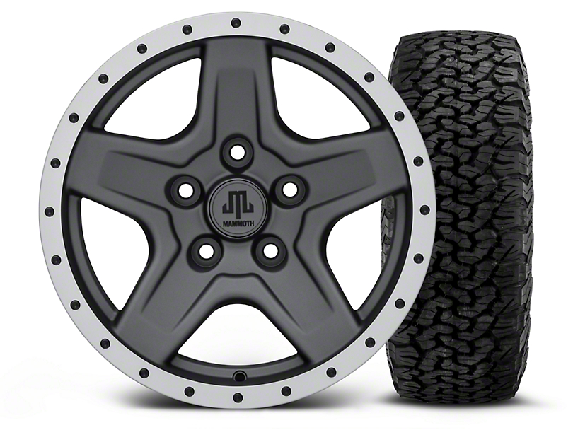 Mammoth Boulder Beadlock Style Charcoal - 16x8 Wheel - and BF Goodrich All Terrain TA KO2 Tire - 305/70R16 (07-18 Wrangler JK; 2018 Wrangler JL)