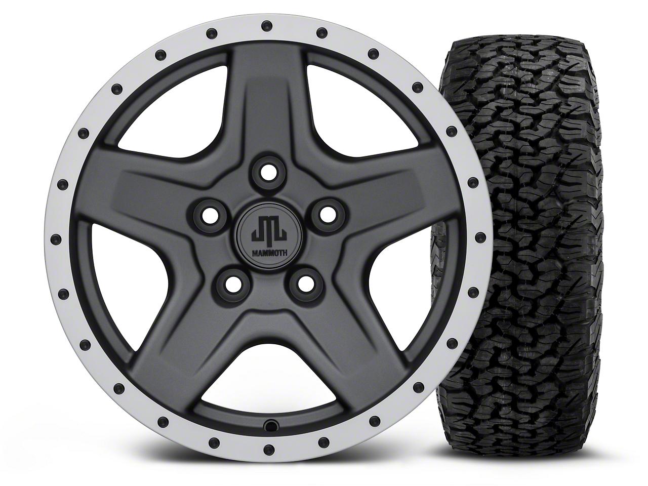 Mammoth Boulder Beadlock Style Charcoal - 16x8 Wheel - and BF Goodrich All Terrain TA KO2 Tire - 305/70R16 (07-18 Jeep Wrangler JK; 2018 Jeep Wrangler JL)