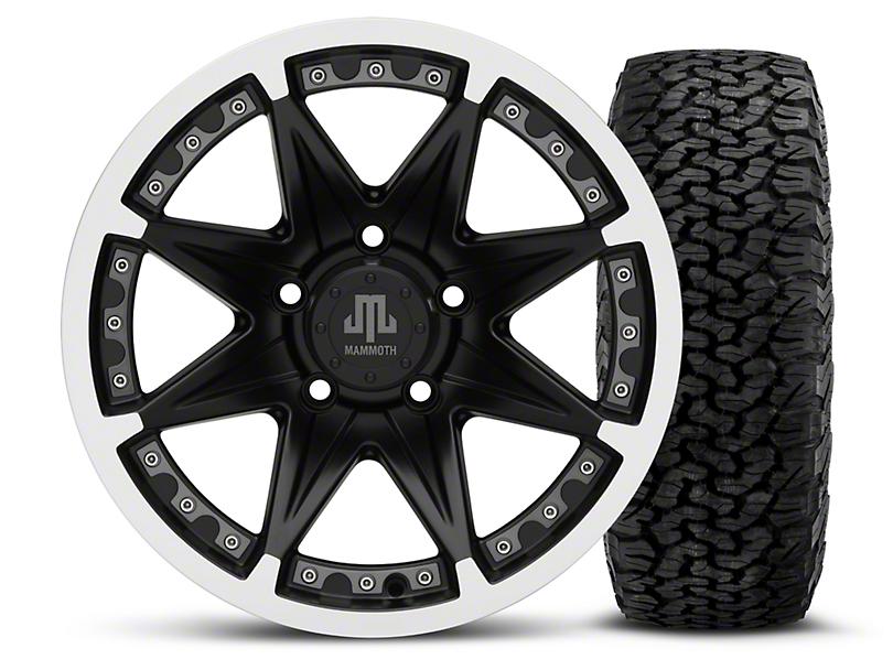 Mammoth Type 88 Black - 16x8 Wheel - and BF Goodrich All Terrain TA KO2 Tire - 305/70R16 (07-18 Wrangler JK; 2018 Wrangler JL)