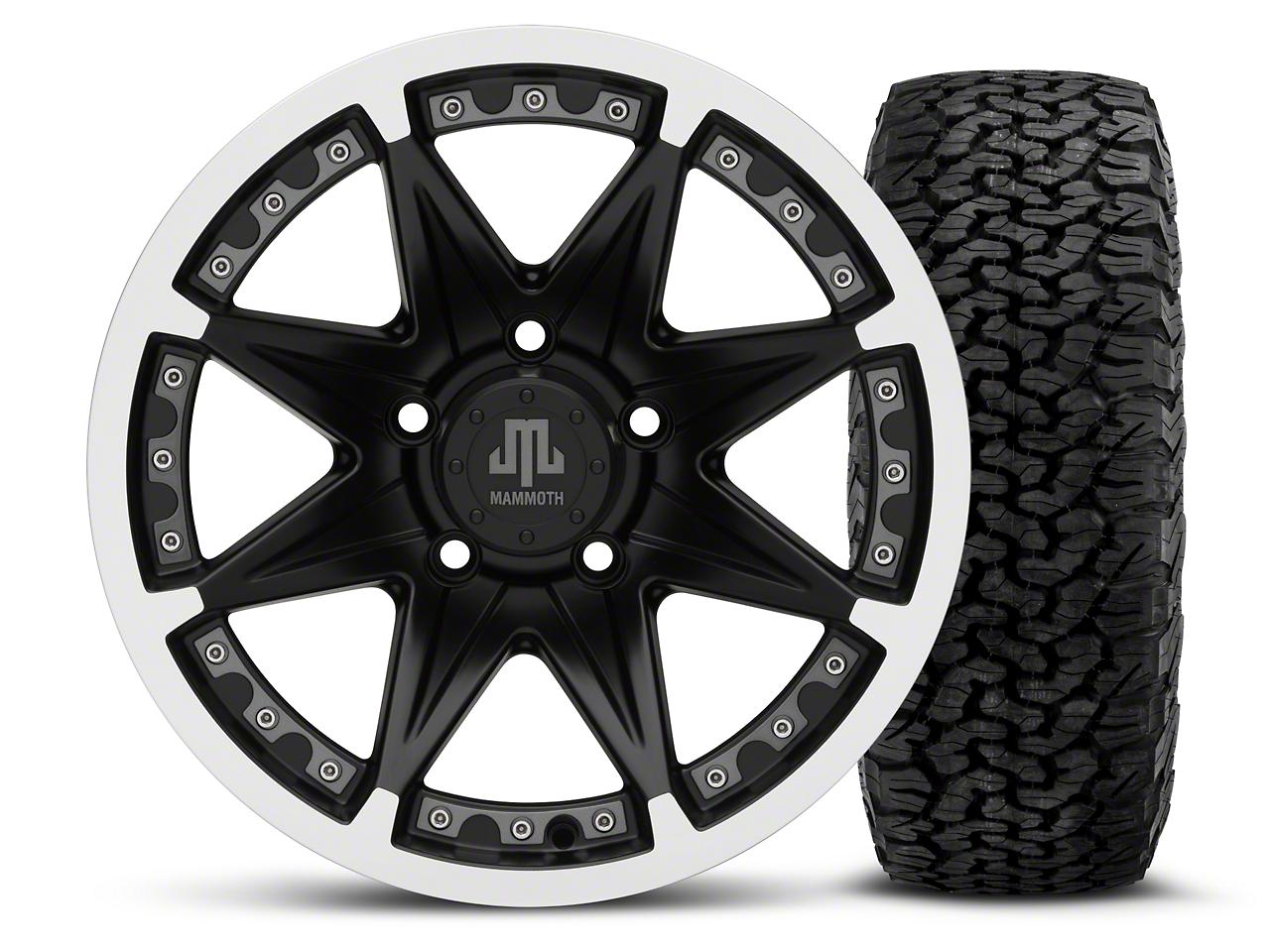 Mammoth Type 88 Black - 16x8 Wheel - and BF Goodrich All Terrain TA KO2 Tire - 305/70R16 (07-18 Jeep Wrangler JK; 2018 Jeep Wrangler JL)