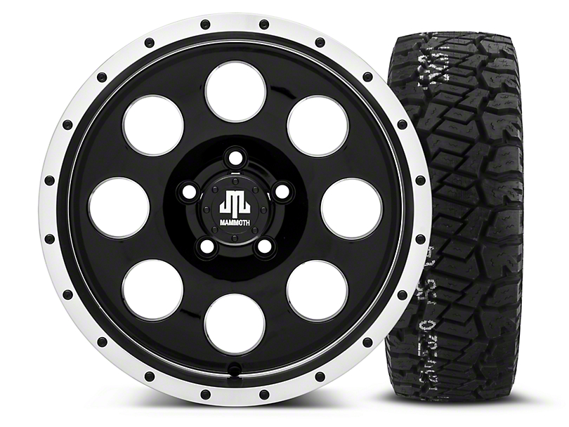 Mammoth 8 Beadlock Style Black - 16x8 Wheel - and BF Goodrich All Terrain TA KO2 Tire - 315/75R16 (87-06 Wrangler YJ & TJ)