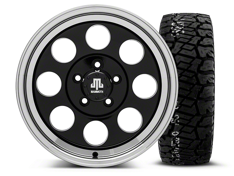 Mammoth 8 Black 16x8 Wheel & BF Goodrich All Terrain TA KO2 315/75R16 Tire Kit (87-06 Jeep Wrangler YJ & TJ)