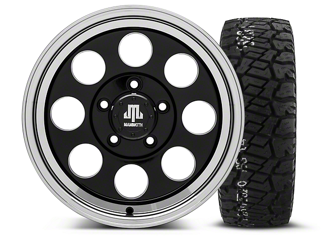 Mammoth 8 Black - 16x8 Wheel - and BF Goodrich All Terrain TA KO2 Tire - 315/75R16 (07-18 Wrangler JK; 2018 Wrangler JL)