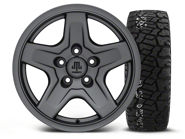 Mammoth Boulder Charcoal 16x8 Wheel & BF Goodrich All Terrain TA KO2 315/75R16 Tire Kit (87-06 Wrangler YJ & TJ)